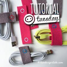 Tutorial Tuesday: für mehr Ordnung in der Kabelkiste – Kabelbinder aus Filz oder Klett