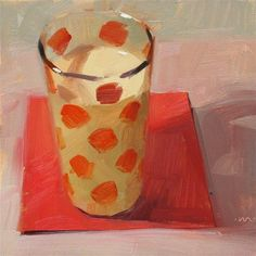 """Daily Paintworks - """"Don't Spill Your Milk - SOLD"""" by Carol Marine 6x6"""