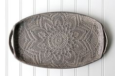 New! Charcoal Pottery Tray - Deep Gray Lace - Ceramic Appetizer Plate - Serving Tray by FringeandFettle on Etsy
