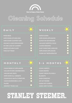 With the changing of the seasons comes an opportunity to tidy up your house and deep clean the areas you haven't thought about in awhile. This printable cleaning schedule checklist will keep your family on track and your house clean year-round. This fall, have Stanley Steemer professionally clean your carpets it's like a fresh start for your home!