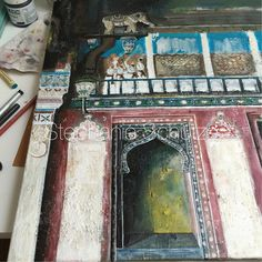 I continued to make progress on this one. Rajasthan. Photo credit to @megan_morton on IG #mixedmediaart #mixedmedia #painting #drawing #paintingbuildings #architecture #paintingarchitecture #india