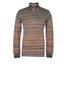 Long-sleeved polo shirt in shaded piqué. Regular fit.