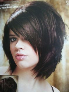 Fab Razor cut straight hair (3/4 front view) with lots of volume at the crown.