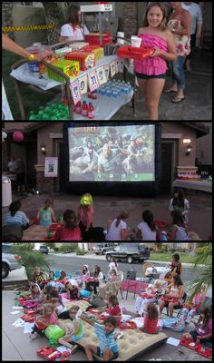 Outdoor Movie Night party - including all the movie theater snacks  Great idea!