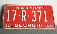 Vintage license plate Georgia Peach State