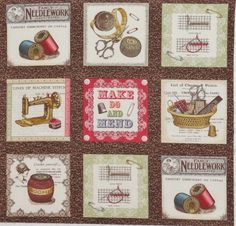 "9 Sewing Theme Quilt Square 4 75"" x 5"" Blocks Needle Thread Crochet Thimble Mend"