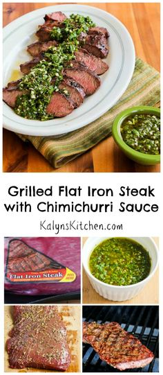 Absolutely love this grilled Flat Iron Steak with Chimichurri Sauce; so fresh tasting and delicious and this recipe is Low-Carb, Gluten-Free, and Paleo.  [from KalynsKitchen.com]
