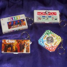 """1998 Hasbro Mini Board Game Keychains 2.5"""" WITH PIECES?! i thought we all lost those when we were little... #games #monopoly #trouble #clue #life #fun @Funky Thrift #ebay"""
