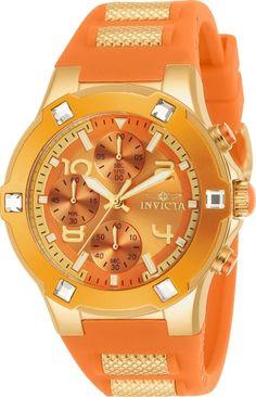 813328a47df Invicta Women s  BLU  Quartz Gold-Tone and Silicone Casual Watch  Color Orange (