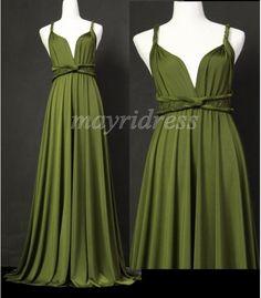 Olive Full Length Infinity Dress Wrap Convertible Dress Evening Bridesmaid Maxi Dress