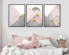 Trending Now, Printable Art, Set of 3 Prints, Mountain Print Set, Pink and Gold, Blush Pink, Scandinavian Prints, Downloads, Wall Art, Print
