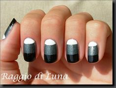 Black & grey & white half moon mani