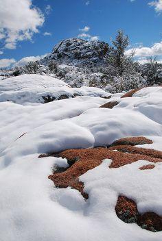 Snow capped Granite Dells, Prescott, AZ