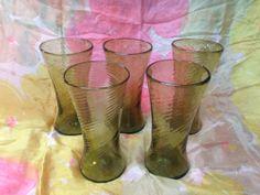 Set of Five Large Green Handblown Glasses by huntergathererbiz, $35.00