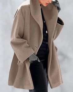 Damen Winter Parka Mantel Jacke Plus Size Trenchcoat Outwear Revers Mantel Trenchcoat, Sweat Shirt, Top Gris, Mode Mantel, Fluffy Coat, Cheap Clothes Online, Pulls, Types Of Sleeves, Short Dresses