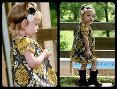 Handmade GRANITE DAMASK Peasant Dress-