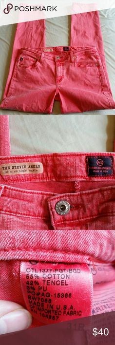 """AG Adriano Goldschmied Red Stevie Ankle size 31 Measures approximately 35.5"""" long, 27"""" inseam, 8"""" front rise, 15.5"""" flat across waist. Light wear. Washed out red color. Slim straight fit. Ag Adriano Goldschmied Jeans Ankle & Cropped"""