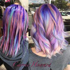 Inspiring Pastel Hair Color Ideas – My hair and beauty Hair Lights, Hair Dye Colors, Cool Hair Color, Exotic Hair Color, Bright Hair Colors, Unicorn Hair Color, Purple Unicorn, Multicolored Hair, Pastel Rainbow Hair