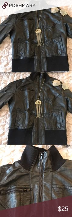 Black Leather Jacket Keep warm and stay stylish in this Black Leather Jacket. Size medium, only worn once or twice! Jackets & Coats