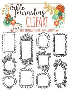 10 PRINTABLE TEMPLATES For Bible Journaling Verse Art Illustrated Faith Clipart Stamps Scripture Printable Stencils