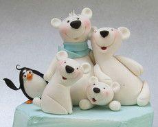 Make a cute family of polar bears in Carlos Lischetti's trademark animated style.