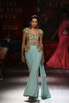India Couture Week 2014 - Top Picks for Bridal Wear Dress Over Pants, Dress Up, Peplum Gown, Play Dress, Gold Bridesmaid Dresses, Bridal Dresses, Pakistani Bridal, Indian Bridal, Saree Gown