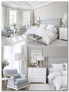 Magnificient Master Bedroom Decorating Ideas - TRENDEDECOR : modern farmhouse master bedroom decor, farmhouse bedroom design rustic neutral bedroom design with white walls and white bedding nightstand decor, side table styling and wall art Modern Master Bedroom, Modern Bedroom Design, Room Interior Design, Master Bedroom Design, Minimalist Bedroom, Home Interior, Home Decor Bedroom, Bedroom Designs, Modern Interior