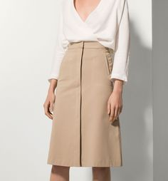 FALDA MIDI BEIGE - Nuevo - WOMEN - Massimo Dutti España (Excepto Canarias)/Spain (except the Canary Islands)