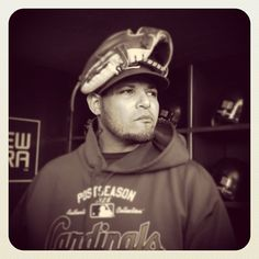 Yadier Molina of the #Cardinals stands in the dugout before tonight's #NLCS game against the #Giants in San Francisco. By @bmangin / SI