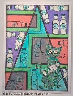 Crazy cat Tim Holtz, card made by Alie Hoogenboezem-de Vries