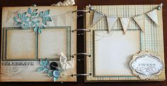 Pages of a baby boy album, by Susan @ Killam Creative. Or vintage or baby girl.