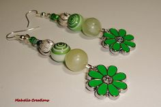 Very long green earrings statement green by MahelieCreations, $8.00