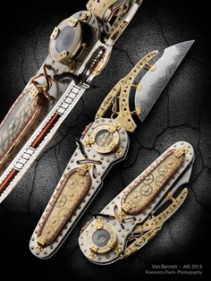 Brass, copper, & silver steampunk switchblade from Van Barnett's Art Knife Invitational Chat Steampunk, Steampunk Weapons, Mode Steampunk, Style Steampunk, Steampunk Gadgets, Steampunk Design, Steampunk Costume, Steampunk Fashion, Medieval Weapons