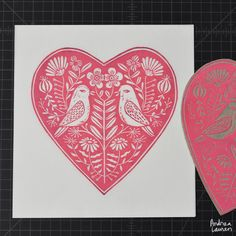Printing this Valentine love bird linocut by Andrea Lauren Linocut Prints, Art Prints, Andrea Lauren, Tampons, Gravure, Woodblock Print, Handmade Art, Printmaking, Screen Printing