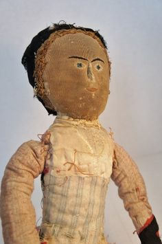 Antique cloth doll with embroidered face 18""