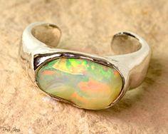 Opal Rings, Gemstone Rings, Silver Rings, Ethiopian Opal Ring, Natural Opal, Welo Opal, Opal Jewelry, Statement Rings, Sterling Silver