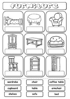 Furniture (drag and drop) Language: English Grade/level: elementary School subject: English as a Second Language (ESL) Main content: Furniture Other contents: furniture, house, home English Primary School, Learning English For Kids, English Lessons For Kids, Teaching English, Learn English, English Worksheets For Kids, English Activities, School Worksheets, Kindergarten Worksheets
