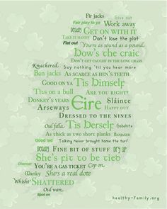 Map of Irish Sayings Framed Artwork for St. Patricks Day. These are funny Irish quotes that fill a map of Ireland. Slainte!