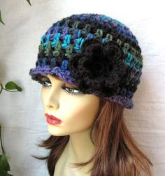 SALE Womens Hat, Beanie, Flower,  Multi, Blue Green Purple Black, Chunky, Warm. Teens, Winter, Ski Hat, Birthday Gifts for Her, JE409BF2. $35.00, via Etsy.