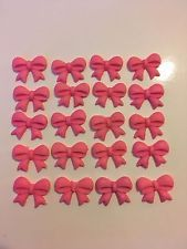 20 edible pink sugar/ fondant bow/ ribbon cake, cupcake topper decorations