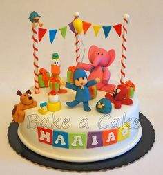 """Pocoyo Party ELC CELEBRATE: Go to www. Pocoyo and his friends have an adventure trying to celebrate Baby Birds Birthday. Go to the Early Learning Collaborative web site and get your free eBook: """"Baby Bird's Birthday"""" 2nd Birthday Party Themes, 2 Birthday Cake, First Birthday Parties, Jasmin Party, Cake Designs For Girl, Happy Party, Dessert Buffet, Party Cakes, Cake Decorating"""