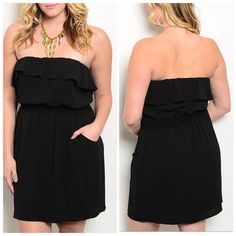 """MAKE OFFERSz. 1X/2X Black strapless dress So pretty!!! Classic strapless black dress. Fully lined. 100% polyester. Made in USA. New without tags. Hidden pockets on side. Very flattering and dress this up or down. 1X: 18"""" pit to pit laying flat across. 30"""" long. 2X: 19"""" pit to pit laying flat across. 31"""" long. CupofTea Dresses Strapless"""