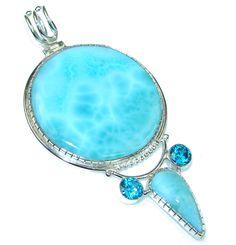 $98.15 Big! Blue Whisper! Blue Larimar Sterling Silver Pendant at www.SilverRushStyle.com #pendant #handmade #jewelry #silver #larimar