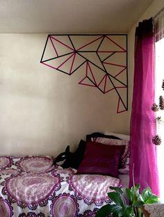 Easy washi tape wall art #washi #wallart #diy Tape Art, Tape Wall Art, Diy Wall Art, Diy Masking Tape, Washi Tape Wall, Dorm Room Organization, My Room, Wall Design, Marzano