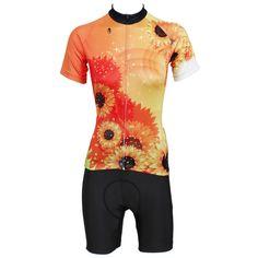 """Cycling Jersey Women """"Sunflower"""" Short Sleeve Cycling Clothing Women Cycling Equipment Cycling Sets X509"""