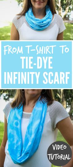 """How to transform a """"plain white tee"""" into a vibrant Tie-Dye Infinity Scarf!  Check out this entertaining and easy-to-follow step by step VIDEO TUTORIAL...just 1 of 16 during Scarf Week!"""