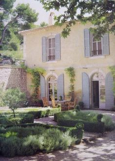 Front facade of French Country House with Provence Blue shutters. French Cottage, French Country House, French Farmhouse, Country Farmhouse, Farmhouse Shutters, Blue Shutters, Exterior Shutters, French Exterior, French Decor