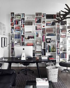 Quite the floor-to-ceiling bookcase featured in Home & Delicious (via Desire to Inspire).