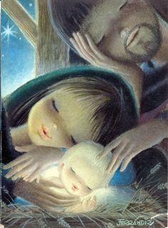 """San José y el niño"" by Juan Ferrándiz Christmas Nativity, Noel Christmas, Vintage Christmas Cards, Christmas Images, Spanish Christmas, Christmas Graphics, Catholic Art, Religious Art, Clipart Noel"