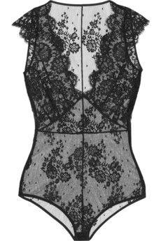 I.D. Sarrieri La Robe Noire Chantilly lace bodysuit | NET-A-PORTER